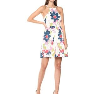 Trina Turk Petaluma Floral Knit Halter Mini Dress